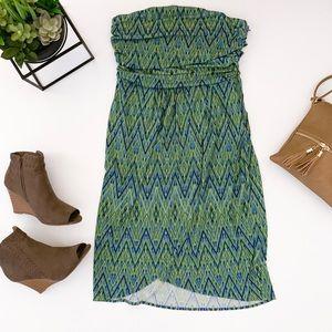 JENNIFER LOPEZ green strapless faux wrap dress